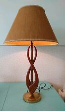Mid-Century Modern Wood & Brass Table Lamp with a Swooping Design w Shade