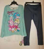 Shopkins Girls 2-Piece Split Back Shirt And Leggings Outfit Size 4/5 OR 6/6X