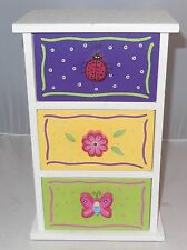 Wooden Hand Painted Children's Jewelry Box -w- Lady Bug,Flower,Butterfly,Knobs