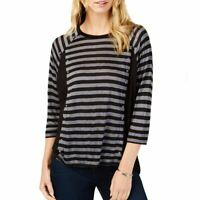 MICHAEL KORS NEW Women's Petites Embellished Striped Casual Shirt Top TEDO