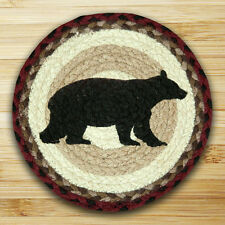 """CABIN BEAR 100% Natural Braided Jute Swatch 10"""" Trivet/Placemat, by Earth Rugs"""
