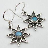"925 Pure Silver Original LABRADORITE TRIBAL Earrings 1.3"" STAR FLOWER Jewelry"