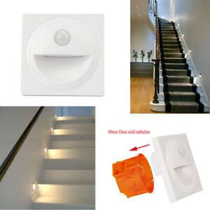 4/8x LED Treppenbeleuchtung mit Bewegungsmelder 230V Treppenlicht Rund Dose 60mm