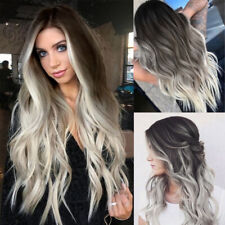 Women Synthetic Wavy Full Curly Wigs Hair Lace Front Wig Body Ombre Grey 2019
