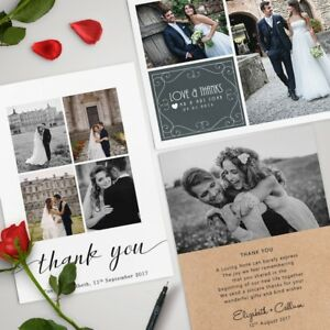 Personalised Wedding Thank You Cards inc. Envelopes + Photos (packs of 10)