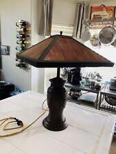 Antique Art Nouveau Slag Glass Lamp Beautiful Paprika Color With Metal Base