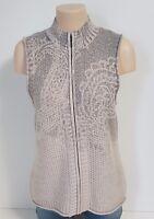 Coldwater Creek Sweater Vest Women's Medium Knit Zip Front Wool Blend 10/12