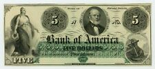 1800's $5 The Bank of America - Providence, RHODE ISLAND Note AU/UNC