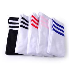 Soccer Football High Over Knee Long Socks Athletic Tube Stocking with 3 Stripe