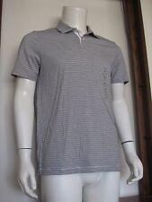 M Men Perry Ellis Short Sleeve Polo Shirt Beige Black Stripe Pima Cotton NWT