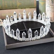 5cm High Adult Full Crown Clear Pillar Pearl Wedding Bridal Party Pageant Prom