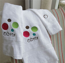 Personalized Embroidered Polka Dot 3 pc Bath Towel Set - Girl's Bathroom Decor