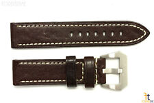 22mm Dark Brown Textured Leather Watch Band Strap Fits Luminox Anti-Allergic