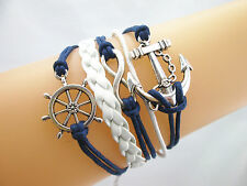 Retro Silver Infinity Anchor Rudder SAILOR NAUTICAL Braided LEATHER Bracelet