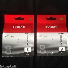 2 Canon CLI-8BK Original OEM Inkjet Cartridges For MX700, iP3500