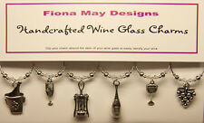 Wine Glass Charm Rings WINE LOVERS set of 6 -made  with Swarovski Crystals