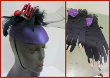 Halloween Costume SPIDER Purple Hat Fascinator + Long fingernail Gloves VAMP 2pc