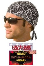 Hav-A-Danna BLACK PAISLEY LINED DU DOO RAG FITTED Tied BANDANA Skull Head Wrap