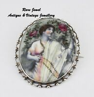 ANTIQUE SILVER & PORCELAIN BROOCH BEAUTIFUL HAND PAINTED DESIGN
