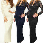 Fashion Women Long Sleeve Summer Lace Bodycon Formal Party Bridesmaid Gown Dress