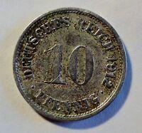 10 Pfennig - 1912  F - Deutsches Kaiserreich - vz / xf erhalten
