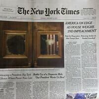 New York Times Newspaper Sun January 10 2021 EDGE HOUSE WEIGHS 2ND IMPEACHMENT