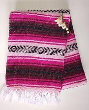 Mexican Falsa Blanket Pink, Wine,Fuchsia & Black Aztec Lines White fringe  XL