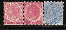 Straits Settlements Scott    41a, 43, 45    Mint Hinged