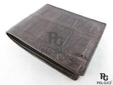 Pelgio Genuine Crocodile Alligator Belly Skin Leather Luxury Bifold Wallet Brown