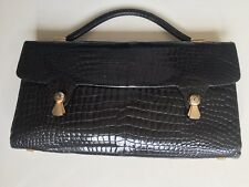 Real Crocodile Alligator Vintage Handbag Bag Quirky Unusual Super Condition Blak