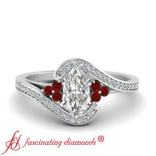 Pave Swirl Engagement Ring With Marquise Cut Diamond And Ruby Gemstone 0.75 Ctw