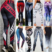 Womens Yoga Pants Floral High Waist Push Up Sports Fitness Gym Leggings Trousers