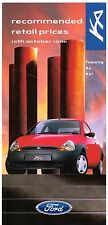 Ford Ka & Ka2 Prices & Optional Extras 1996-97 UK Market Foldout Brochure