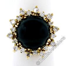 14K Yellow Gold Round Cabochon Black Onyx & .58ctw Alternating Diamond Halo Ring