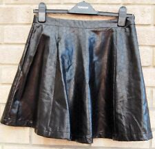 LOVE LABEL CUT OUT SPOTTY FAUX LEATHER SKATER FLIPPY FULL A LINE BIKER SKIRT 10