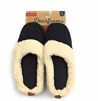 Dearfoams Women's Cable Knit Clog Slipper Black Size 11-12
