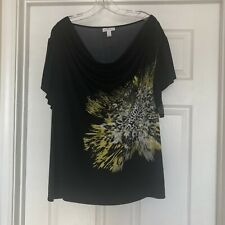 Fashion Bug Black Yellow Short Sleeve Blouse~2X