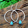 Vintage Fashion 925 Silver Hoop Earrings for Women Turquoise Jewelry A Pair/set