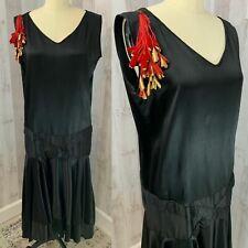 1920s-True Antique FLAPPER DRESS~Jet Black Silk Satin Vintage Plus XL RARE COND
