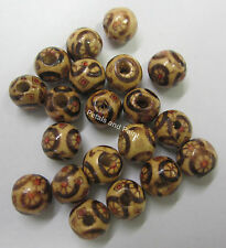 20 Wooden Beads 8mm Round Wood Bead Brown Red & Black For Beading & Craft WBA04