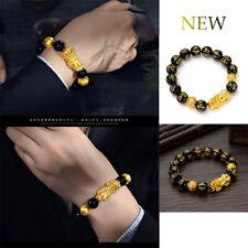 Lucky Success Obsidian Gilded Fortune Brave Force PiXiu Men's Bracelet AN