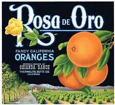 ORANGE CRATE LABEL SCARCE ROSA DE ORO THERMALITO BUTTE CALIFORNIA LANDSCAPE 1930