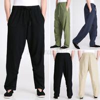 Vintage Herren Baggy Yoga-Hose aus 100% Baumwolle mit Kordelzug und weitem Bein