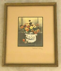 Wallace Nutting Still Life Floral Hand Colored Photograph  Blue White Vase