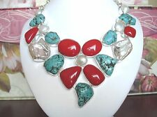 """AB Red Coral Turquoise Nugget Biwa Freshwater Pearl Bib Necklace .925 Silver 22"""""""