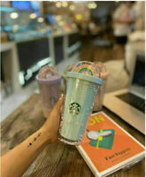 2020 Plastic Starbucks Starlight Cup Rainbow Cup Straw Double 16oz Drinking Cups