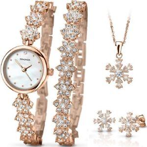 Sekonda Christmas Set Rose Gold Bracelet Ladies Watch Snowflake Gift Set 2115G