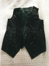 Gorgeous COTE A COTE PARIS Black Satin Beaded Waistcoat-size 12. VGC