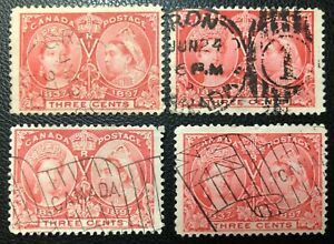 CANADA 1897- # 53- QUEEN VICTORIA JUBILEE- 3c BRIGHT ROSE- 4 USED GOOD CANCELS
