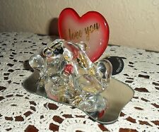 HAND SCULPTED CRYSTAL GLASS ARTISTRY 22 KT GOLD I LOVE YOU PAIR FROGS W/MIRROR